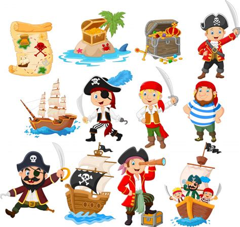 Collection of cartoon pirate | Premium Vector