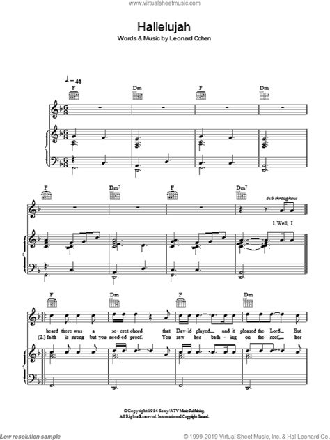 Boyle - Hallelujah sheet music for voice, piano or guitar