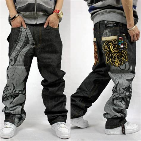 New Mens Hip Hop Coo gi Jeans Baggy Embroidery Loose Denim