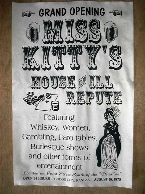 OLD WEST SALOON MISS KITTY'S DODGE CITY BROTHEL NOVELTY